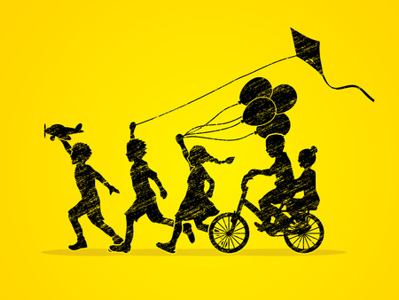 children running: Children running, Friendship designed using grunge brush graphic Illustration