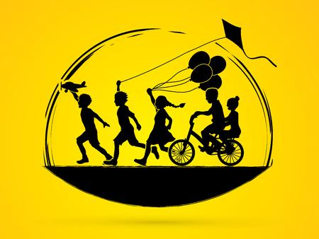 children running: Children running, Friendship graphic vector.