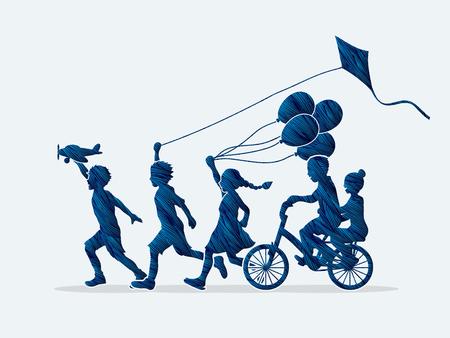 children running: Children running, Friendship designed using blue grunge brush graphic