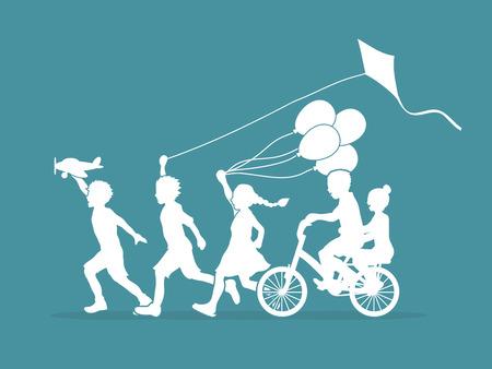 graphic: Children running, Friendship graphic