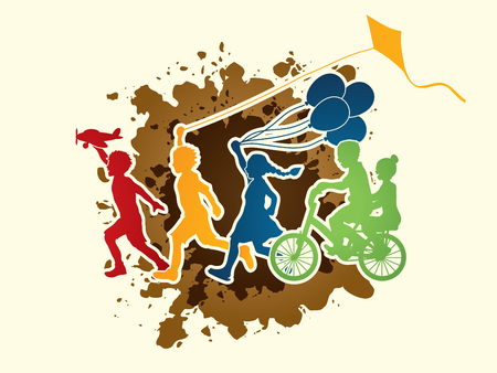 mud: Children running, Friendship on splash mud background graphic