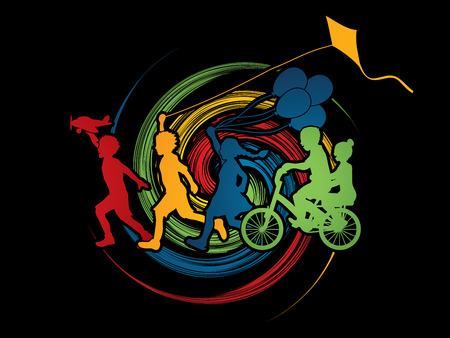 wheel spin: Children running, Friendship on spin wheel background graphic