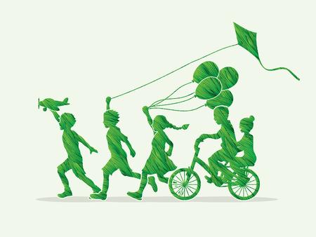 緑のグランジ ブラシ グラフィックを使用して設計されて実行している子供、友情