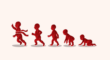 Baby running steps designed using red grunge brush graphic vector