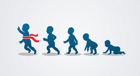 Baby running stappen grafische vector