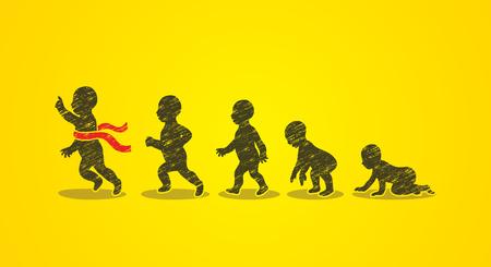 Baby running steps designed using grunge brush graphic vector
