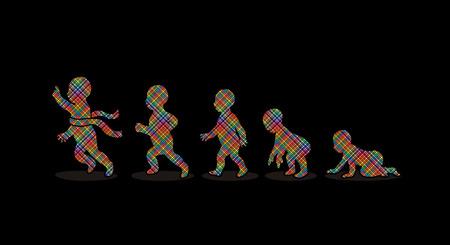 Baby-Laufschritte entwickelt unter Verwendung von Mosaik-Muster Vektor-Grafik Vektorgrafik