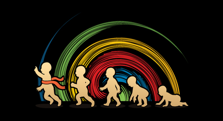 spin: Baby running steps designed on spin wheel background graphic vector Illustration