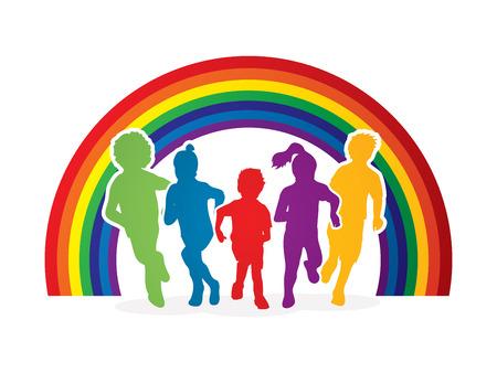 children running: Group of children running , Front view designed on line rainbows background graphic vector.