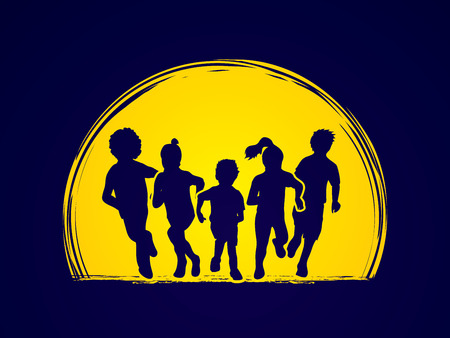mixed race: Group of children running , Front view designed on moonlight background graphic vector.