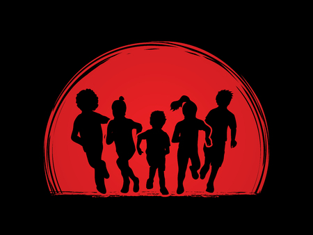 mixed race: Group of children running , Front view designed on sunrise background graphic vector.