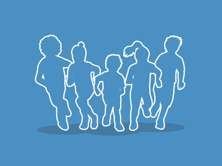 mixed race: Group of children running, Front view outline graphic vector.
