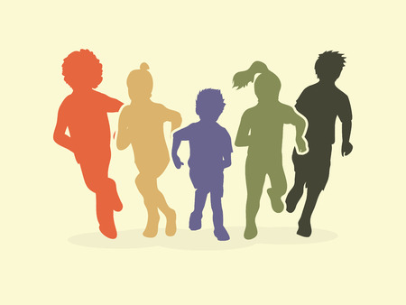 mixed race children: Group of children running, Front view graphic vector. Illustration