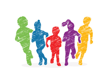 Group of children running, Front view designed using colorful grunge brush graphic vector. Vettoriali