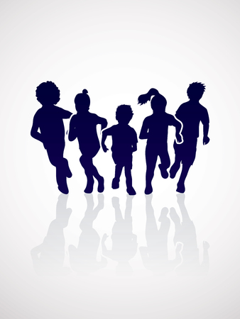 mixed race children: Group of children running , Front view graphic vector.