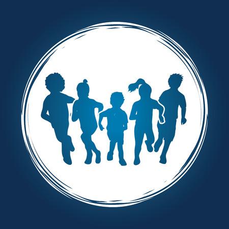 children running: Group of children running , Front view designed on grunge circle background graphic vector.