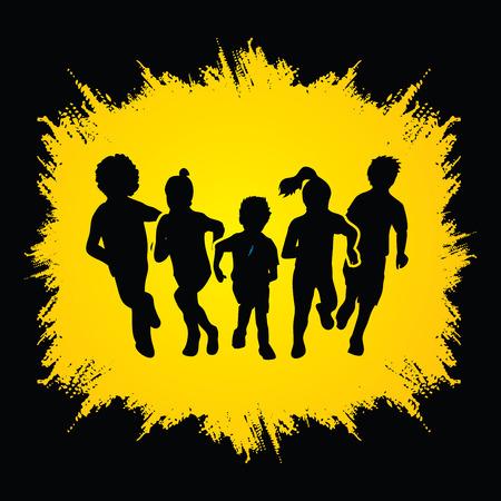 Groep kinderen lopen, Front view ontworpen op grunge frame achtergrond afbeelding vector.