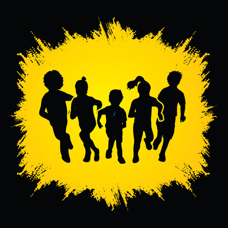 mixed race: Group of children running , Front view designed on grunge frame background graphic vector.