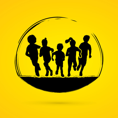 children running: Group of children running, Front view graphic vector. Illustration