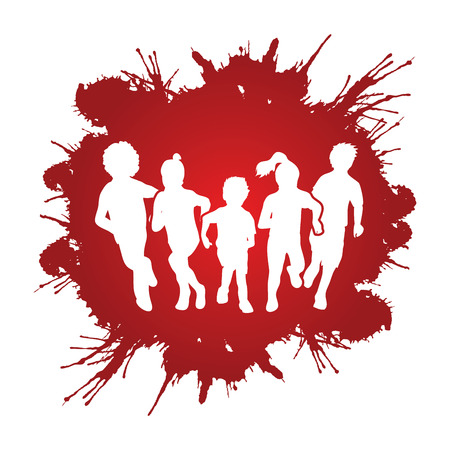 mixed race girl: Group of children running , Front view designed on grunge splatter background graphic vector.
