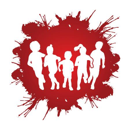 Groupe d'enfants en cours d'exécution, Vue de face conçue sur éclaboussure grunge vecteur de fond graphique. Vecteurs