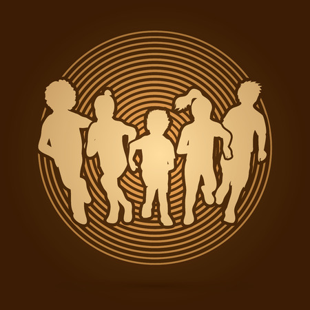 mixed race girl: Group of children running , Front view designed on golden light background graphic vector.
