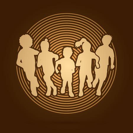 golden light: Group of children running , Front view designed on golden light background graphic vector.