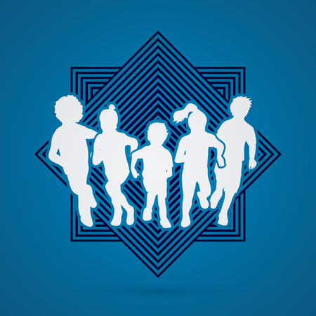 mixed race children: Group of children running , Front view designed on line square background graphic vector.