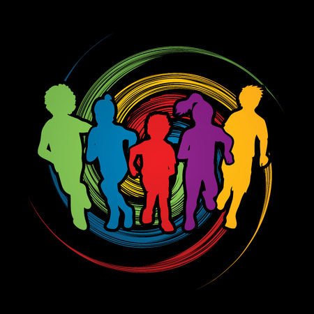 mixed race children: Group of children running , Front view designed on spin wheel background graphic vector.