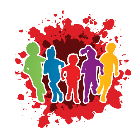 mixed race children: Group of children running , Front view designed on splash ink background graphic vector. Illustration