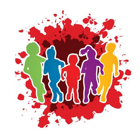Gruppo di bambini in esecuzione, Vista frontale disegnato su sfondo spruzzi d'inchiostro grafica vettoriale.