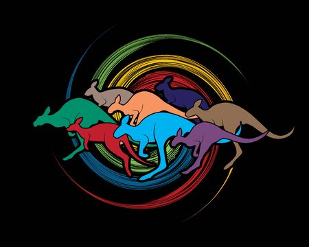 crowd tail: Group of Kangaroo jumping designed on spin wheel background graphic vector. Illustration