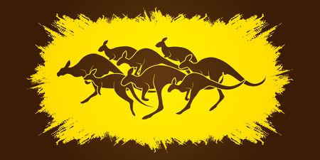 crowd tail: Group of Kangaroo jumping designed on grunge frame background graphic vector. Illustration