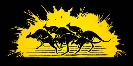 crowd tail: Group of Kangaroo jumping designed on grunge splatter background graphic vector. Illustration