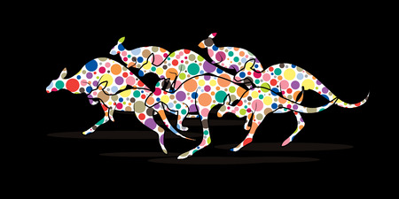 group jumping: Group of Kangaroo jumping designed using colorful halftone graphic vector.