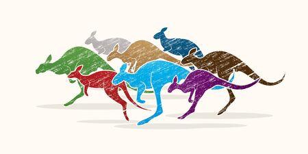 sac: Group of Kangaroo jumping designed using colorful grunge brush graphic vector. Illustration