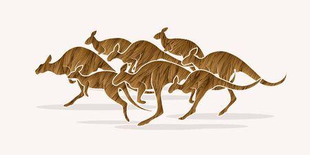 group jumping: Group of Kangaroo jumping designed using brown grunge brush graphic vector. Illustration