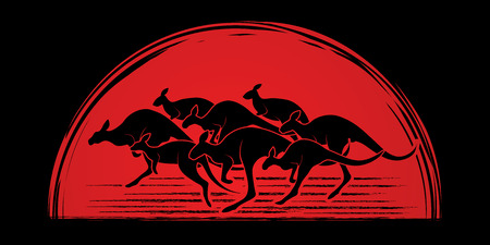 crowd tail: Group of Kangaroo jumping designed on sunlight background graphic vector.