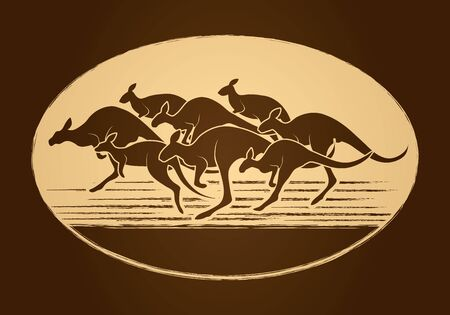 crowd tail: Group of Kangaroo jumping designed on golden circle background graphic vector. Illustration