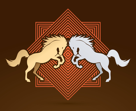 screen printing: Twin horses designed on line square background graphic vector. Illustration