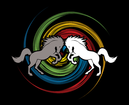 spin: Twin horses designed on spin wheel background graphic vector.