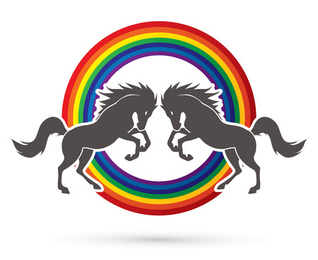 twin: Twin horses designed on rainbows background graphic vector. Illustration