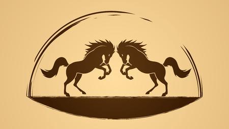 chevaux jumeaux vecteur graphique. Vecteurs