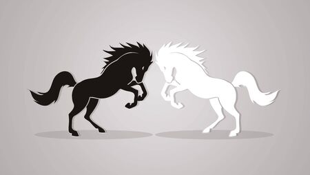 rebellious: Twin horses designed using black and white graphic vector.