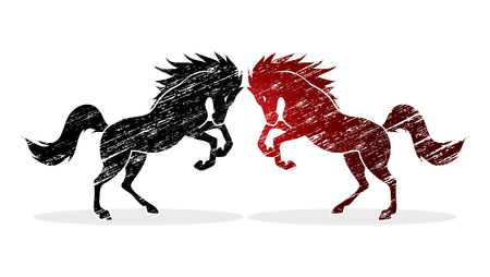rebellious: Twin horses designed using grunge brush graphic vector. Illustration