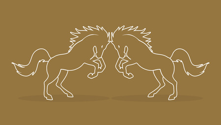 twin: Twin horses outline graphic vector. Illustration