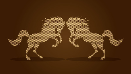 rebellious: Twin horses designed using golden geometric pattern graphic vector.