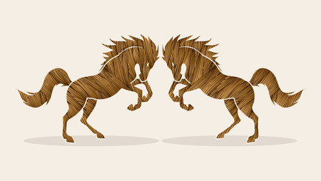 rebellious: Twin horses designed using brown grunge brush graphic vector. Illustration