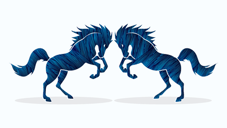 twin: Twin horses designed using blue grunge brush graphic vector. Illustration