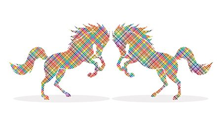 rebellious: Twin horses designed using colorful pixels graphic vector.